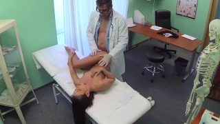 Dirty doctor and naughty nurse both pleasure patients pussy